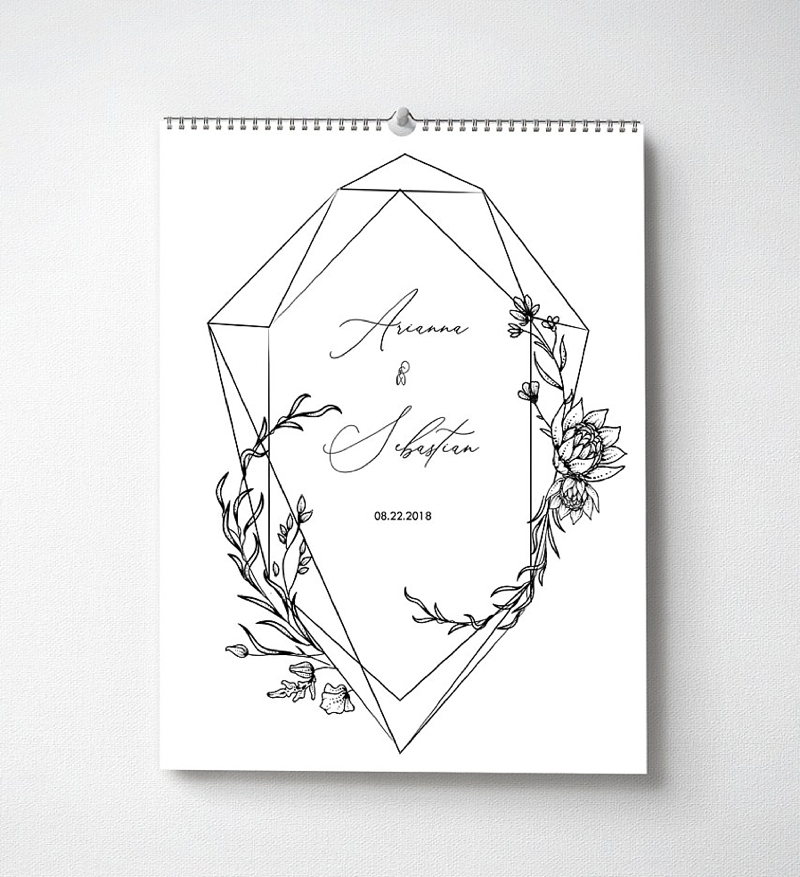 Unique modern personalized wedding calendar for guests to sign their names on specific dates