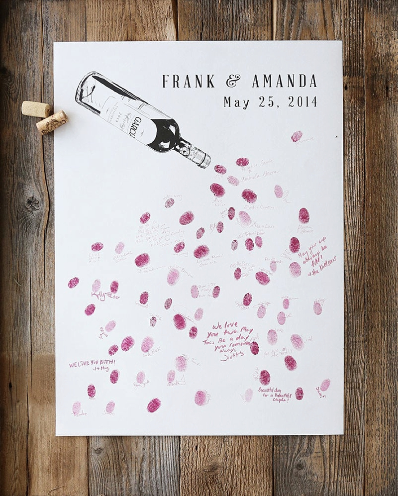 Fun and unique wine lovers thumbprint wedding guest book poster