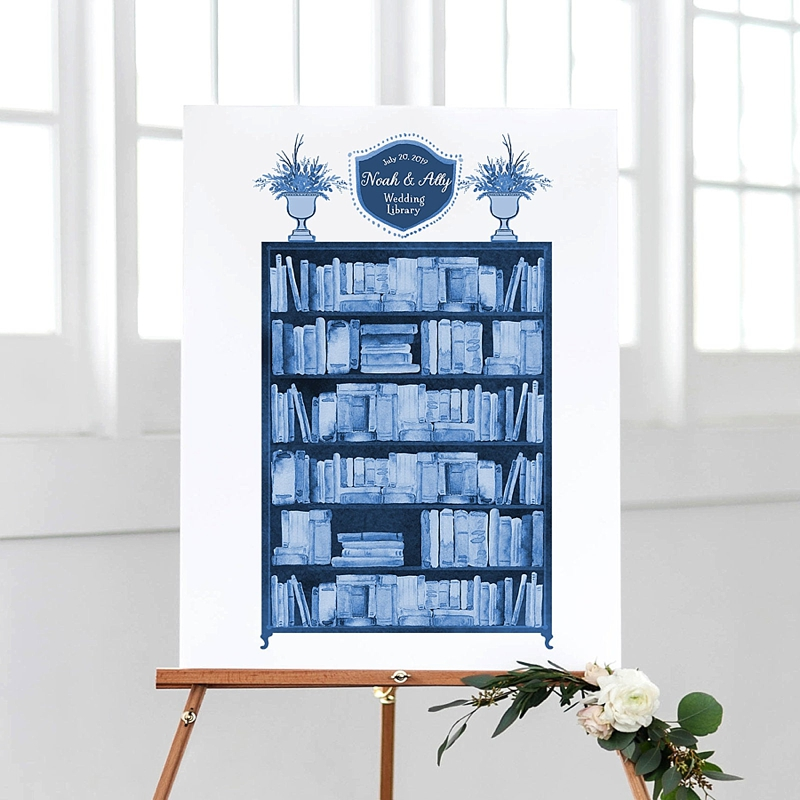 Blue colored library poster for unique book lovers wedding guest book