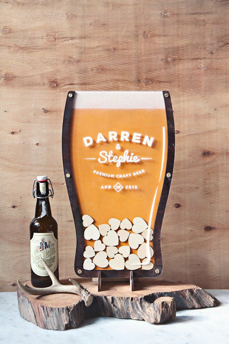 Handmade wooden drop heart wedding guest book shaped like a glass of craft beer for beer lovers