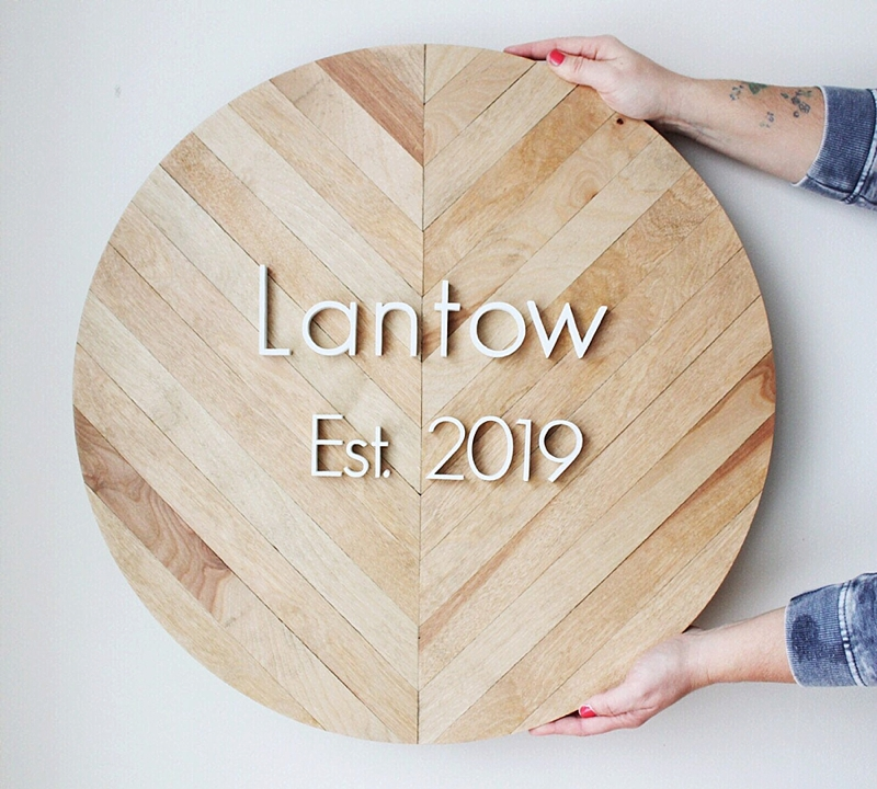Modern personalized wooden round wedding decor guestbook sign