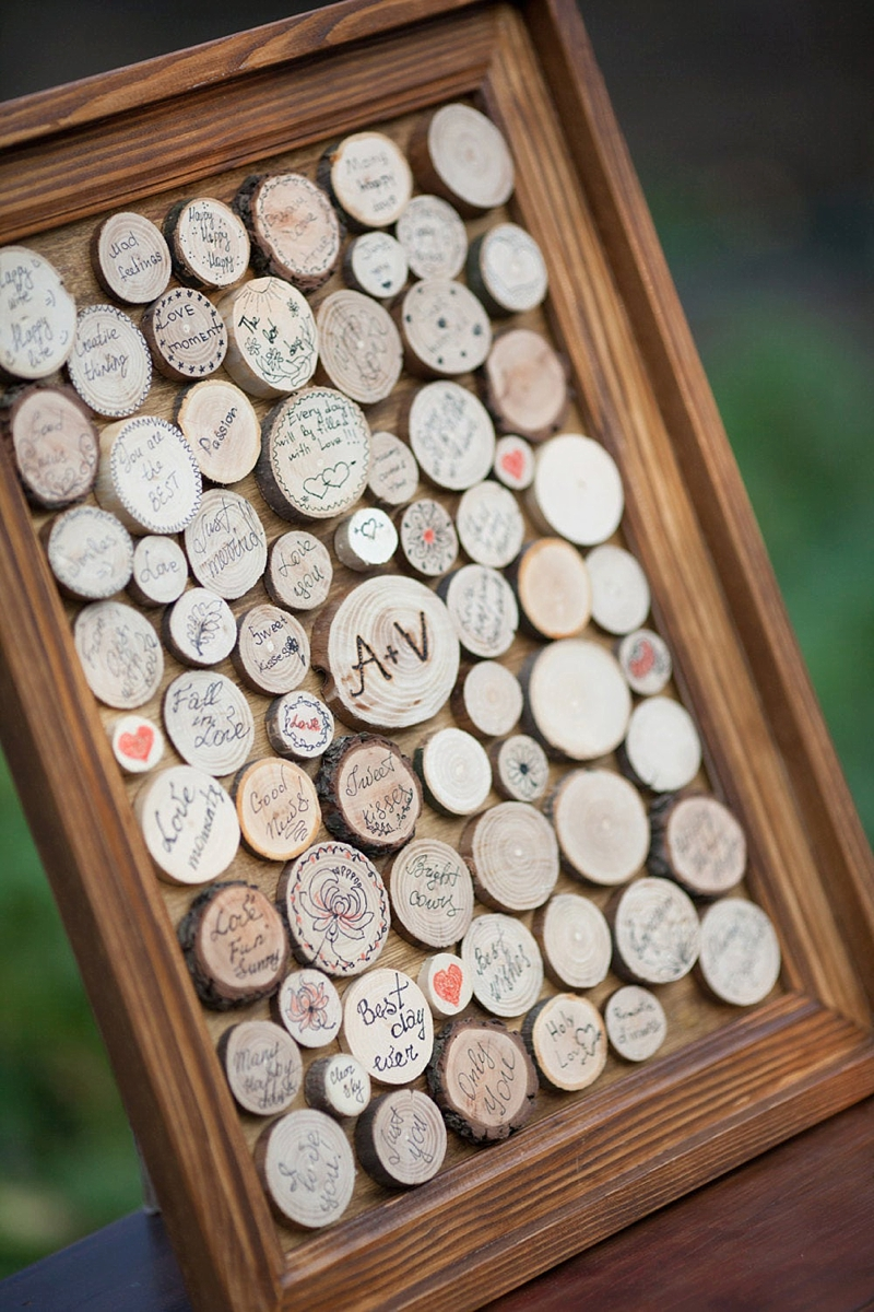 Rustic mini wood stump wedding guest book that guests sign for unique decor sign