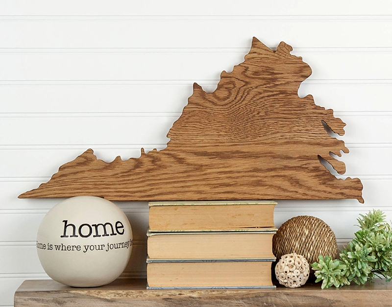 Handmade Virginia shaped wooden wedding guest book to decorate your home afterwards