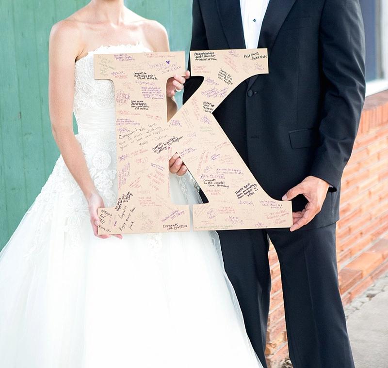 Classic preppy wooden monogram wedding guest book sign