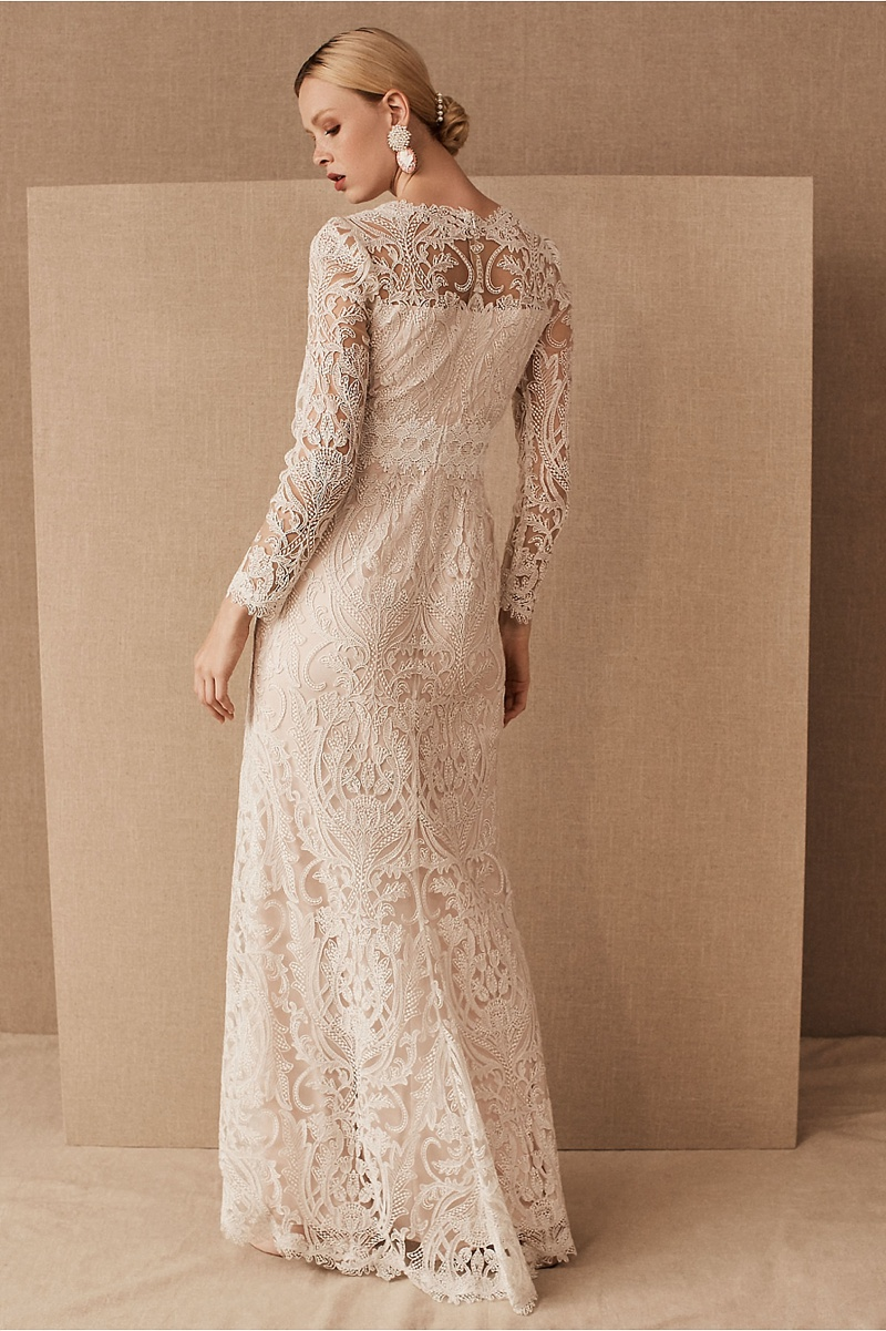 Romantic vintage inspired column fitted lace wedding dress