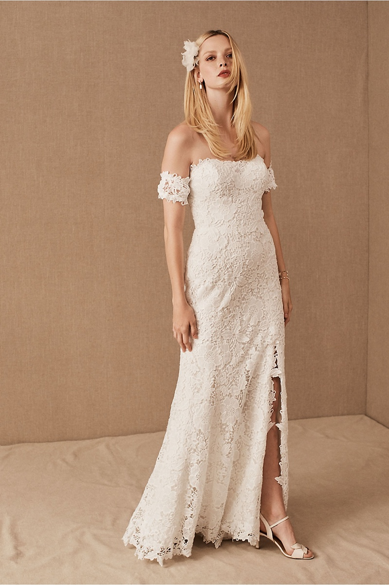 Boho inspired fitted lace wedding dress with removable sleeves