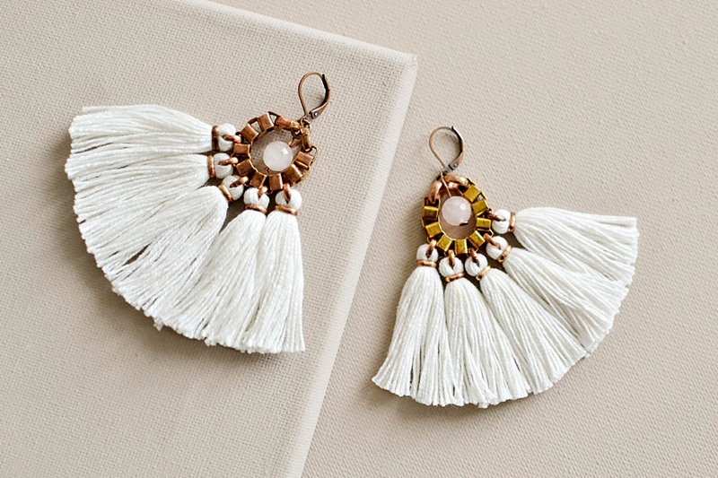 White tassel fringe boho wedding statement earrings from Etsy