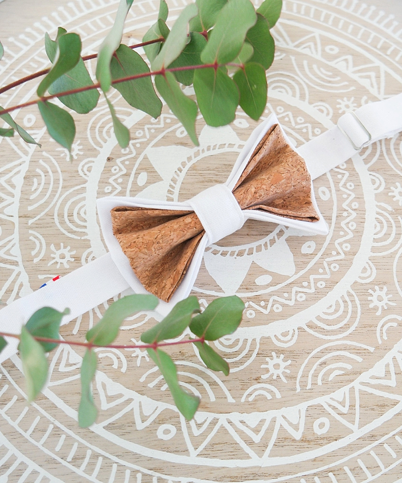 Unique white fabric and cork wedding bow tie for boho groom or groomsman from Etsy