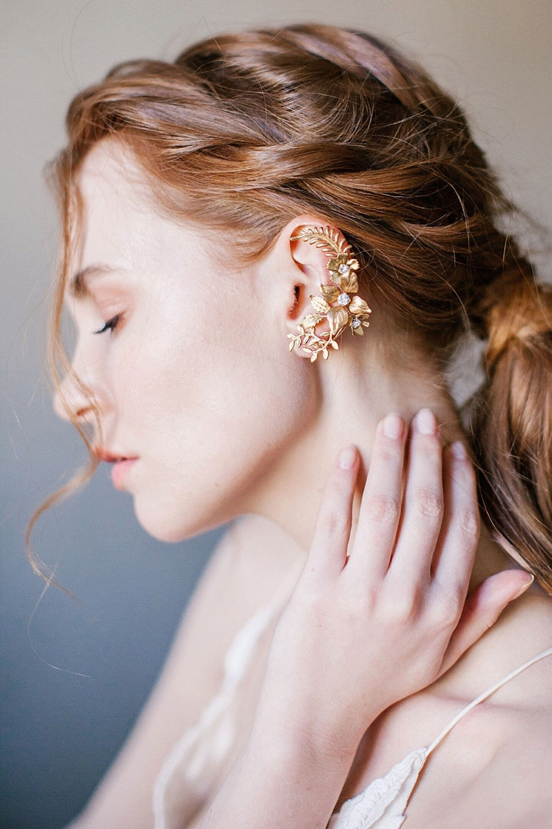 Gold vintage botanical inspired bridal ear cuff climber earring