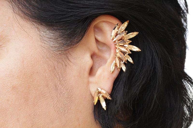 Split two piece wedding ear cuff made of champagne gold crystals