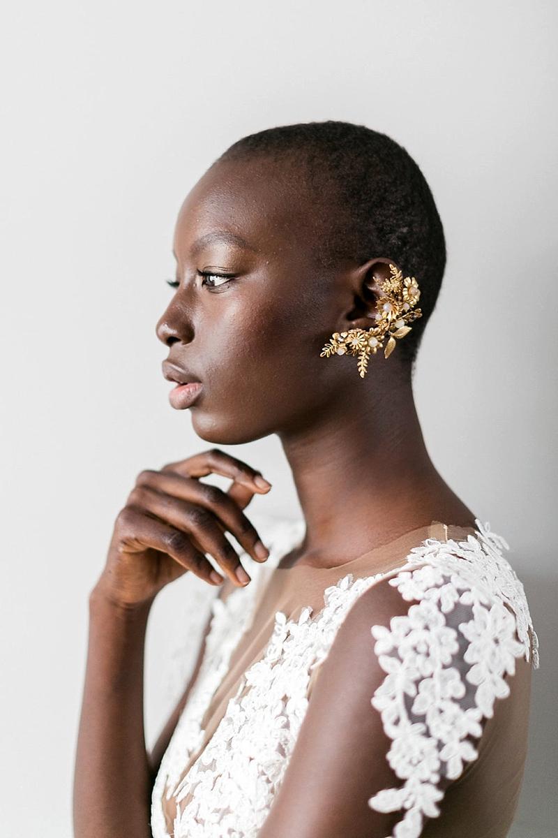 Ornate gold floral fine art bridal ear cuff for stylish bride