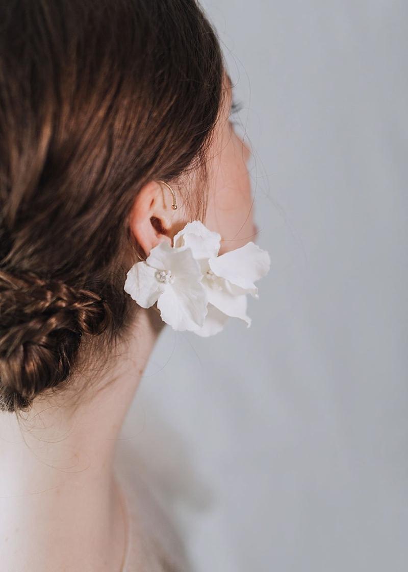 Small white flower bridal earring cuff for unpierced ears