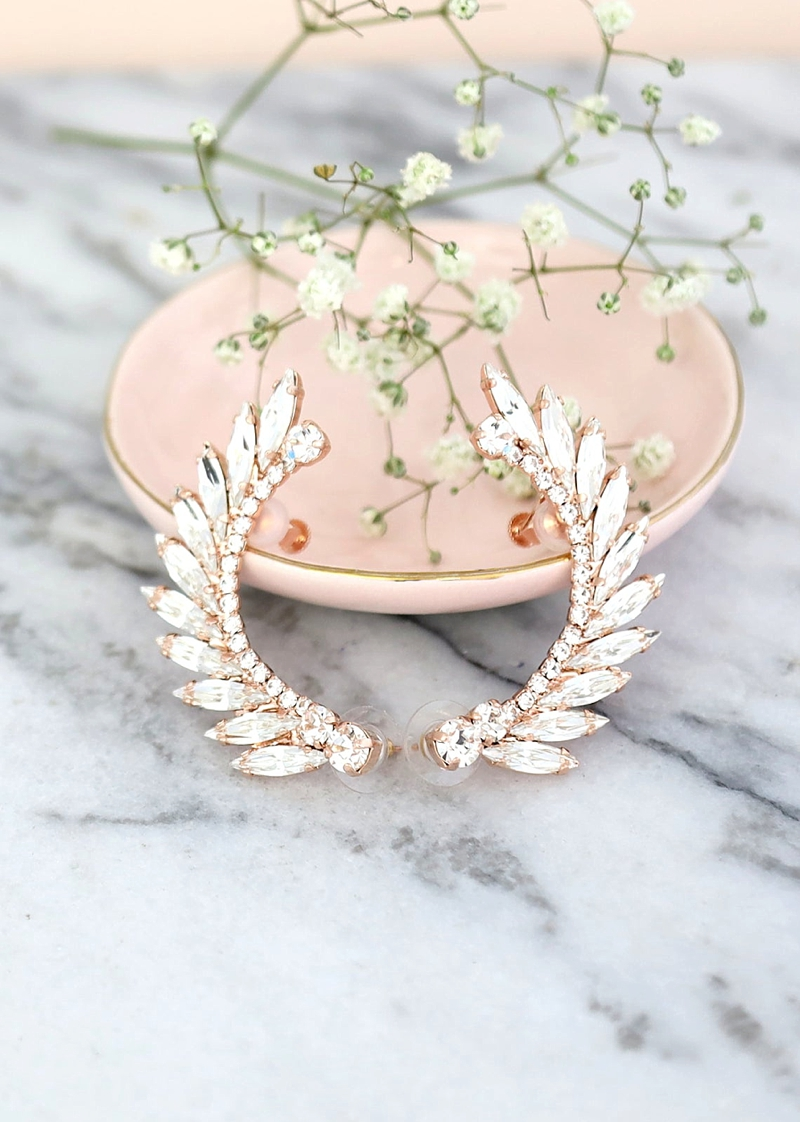 Winged rose gold bridal ear cuff climber with crystals