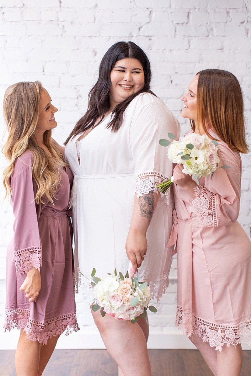 Comfy cotton bridesmaid wedding getting ready robes with Venetian lace trim and available in plus size