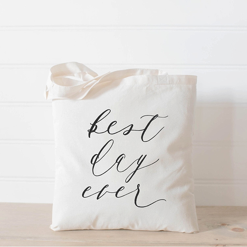 Cute Best Day Ever wedding tote bag to give to bridesmaids as a gift