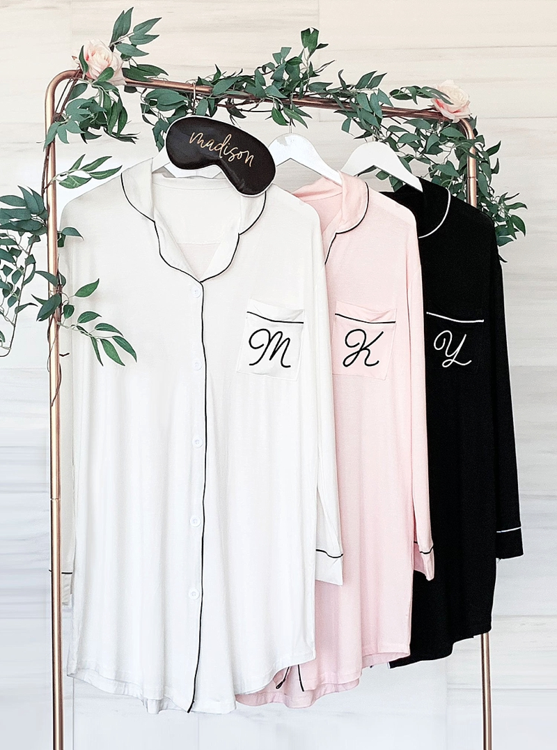 Beautiful modern monogrammed bridesmaid pajama sleep shirt for wedding day gift