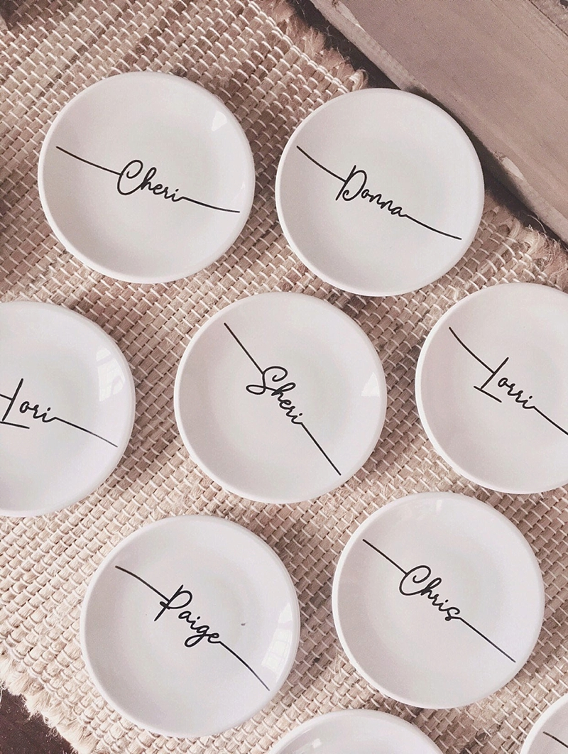 Modern personalized bridesmaid wedding ring trinket dish gift