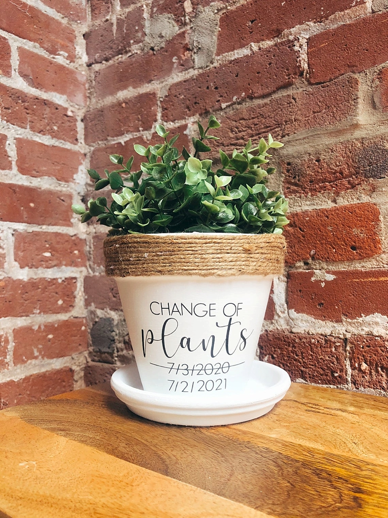 Punny Change of Plans plant pot with postponed wedding date for unique coronavirus wedding gift