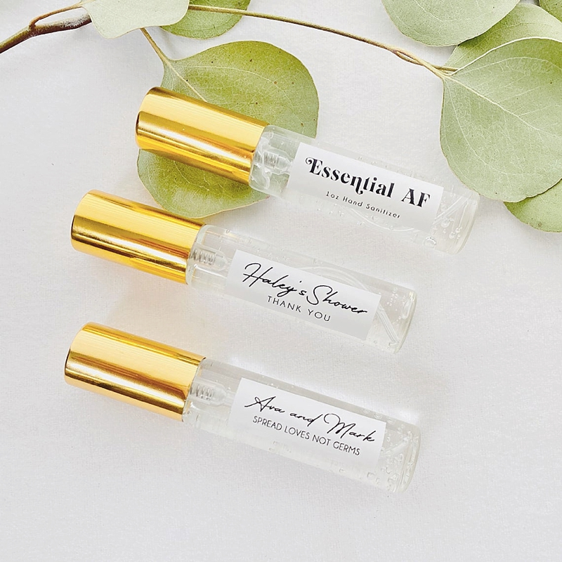 Personalized chic hand sanitizer bridal shower favors for a COVID wedding