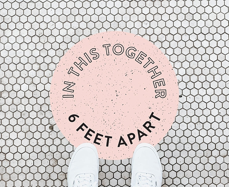 In This Together personalized social distancing wedding venue floor decal