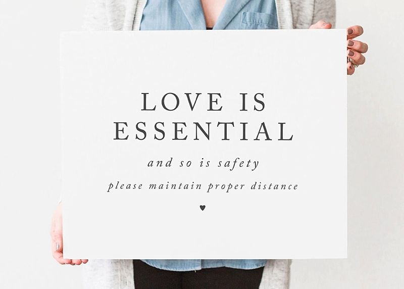 Love Is Essential social distancing printable COVID wedding sign