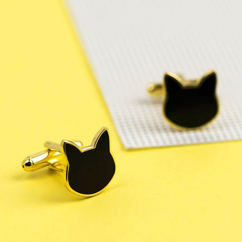 Black and silver cat shaped wedding cufflinks for unique wedding cat dad style