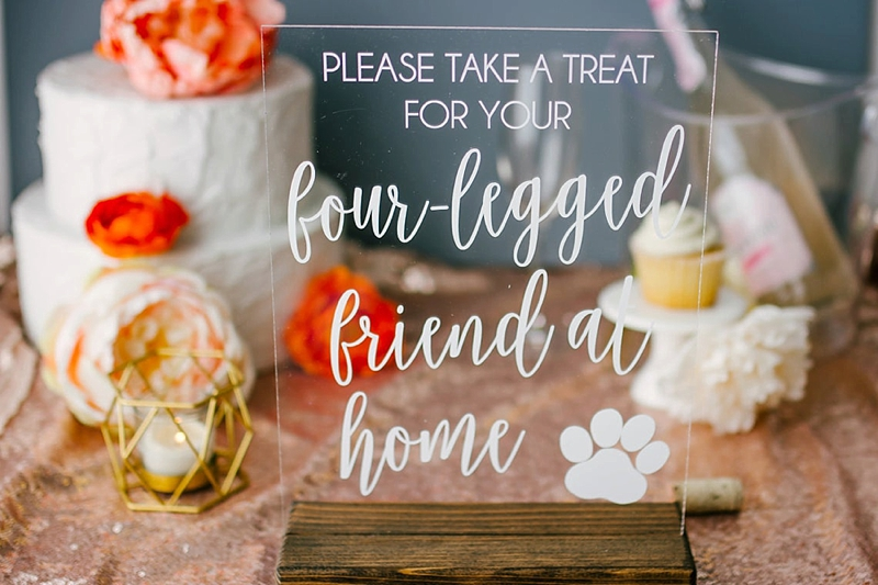 Perfect cat themed acrylic wedding sign for pet treat wedding favors