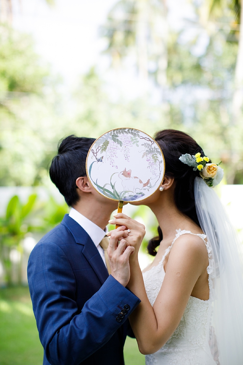 Chic cat themed illustrated paper hand fan for summer wedding ceremony