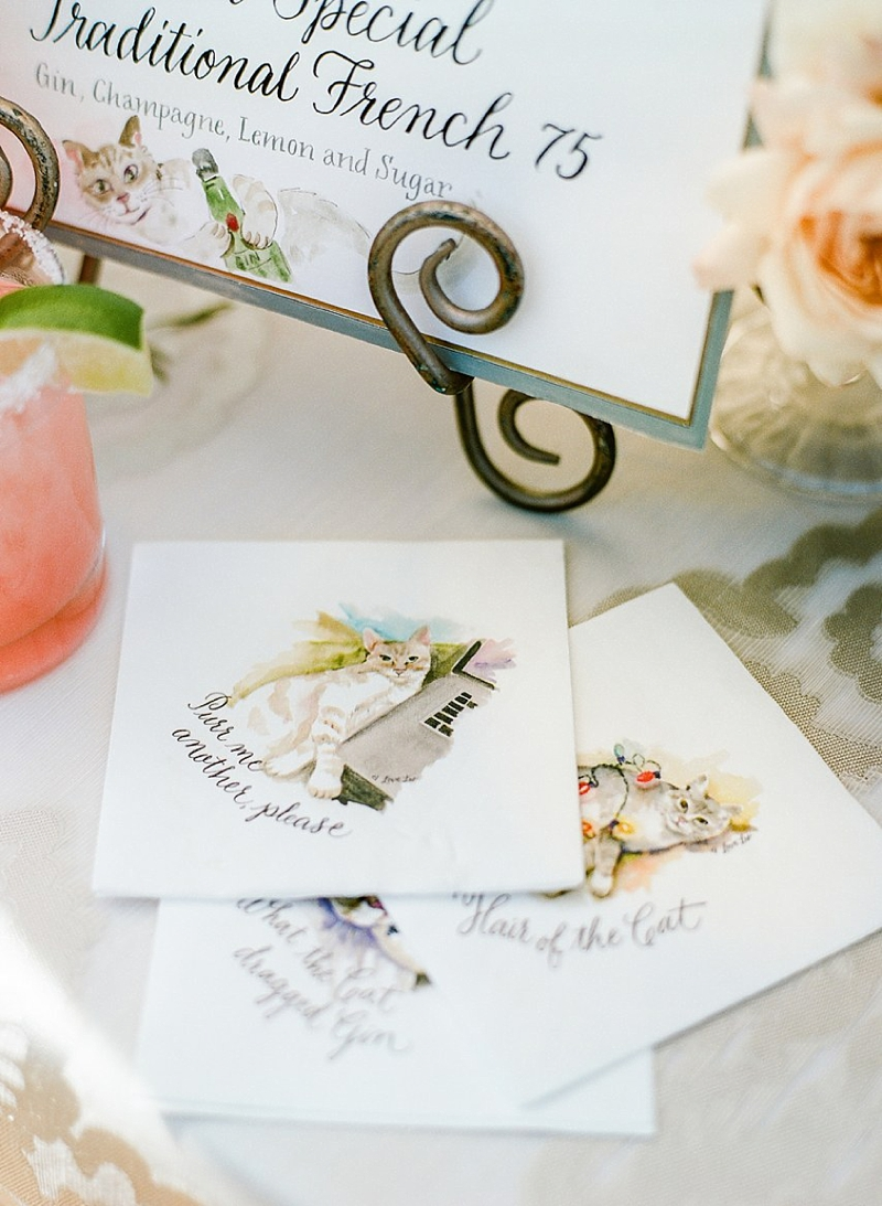 Personalized watercolor cat illustrated wedding cocktail napkins