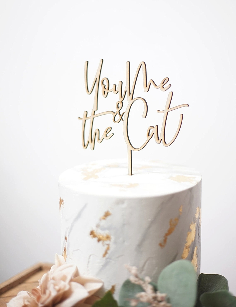 Modern wooden cat themed You Me Cat wedding cake topper