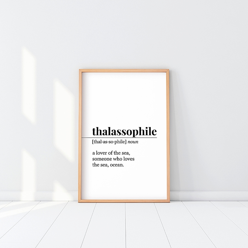 Ocean inspired Thalassophile definition print for a beach lover holiday stocking stuffer
