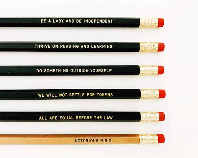 Modern Ruth Bader Ginsberg inspired pencils for the feminist holiday stocking stuffer