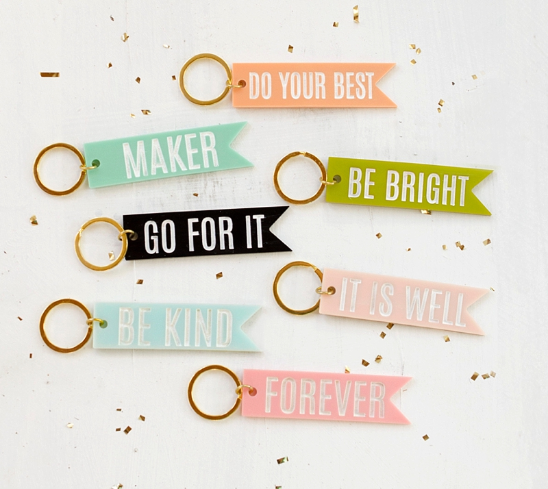 Fun and modern colorful acrylic flag keychain with encouraging words for perfect holiday stocking stuffer