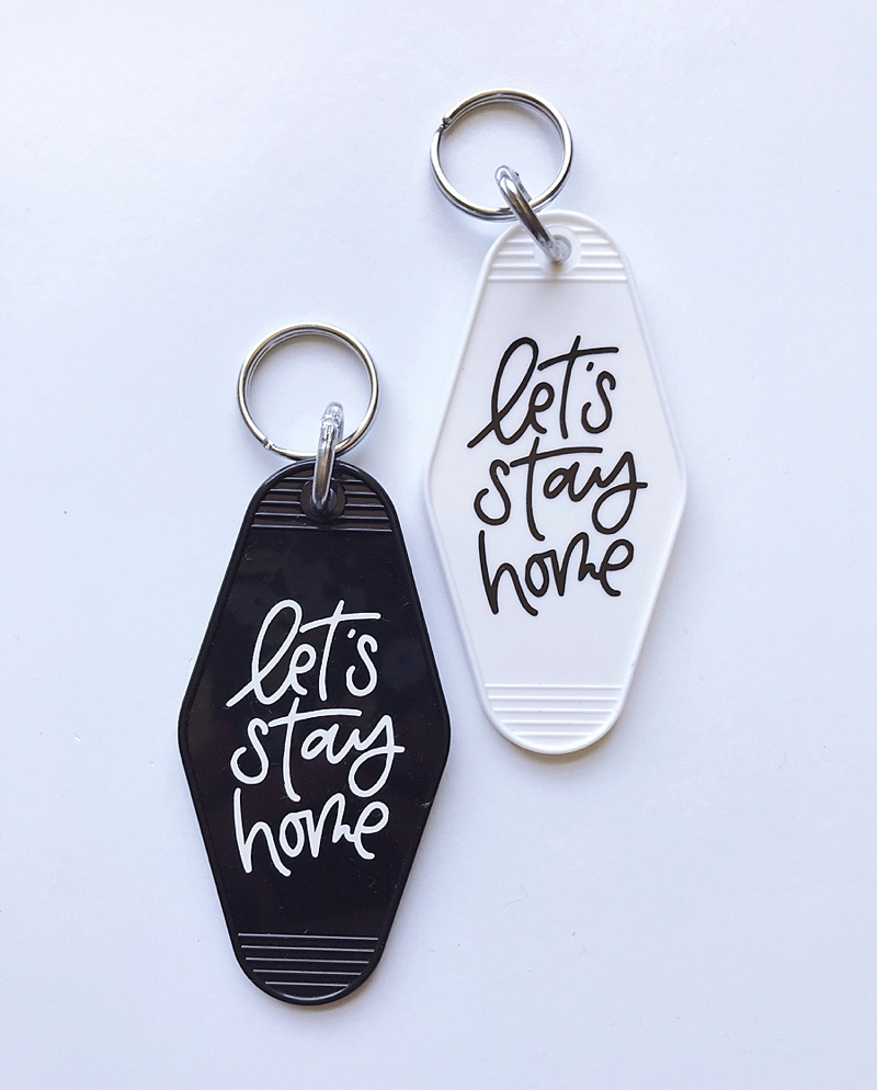 Modern Retro Lets Stay at Home motel inspired keychains for the newlyweds stocking stuffer
