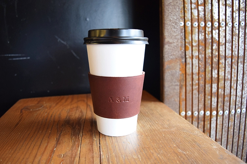 Personalized leather coffee sleeve for a nice stocking stuffer idea this Christmas