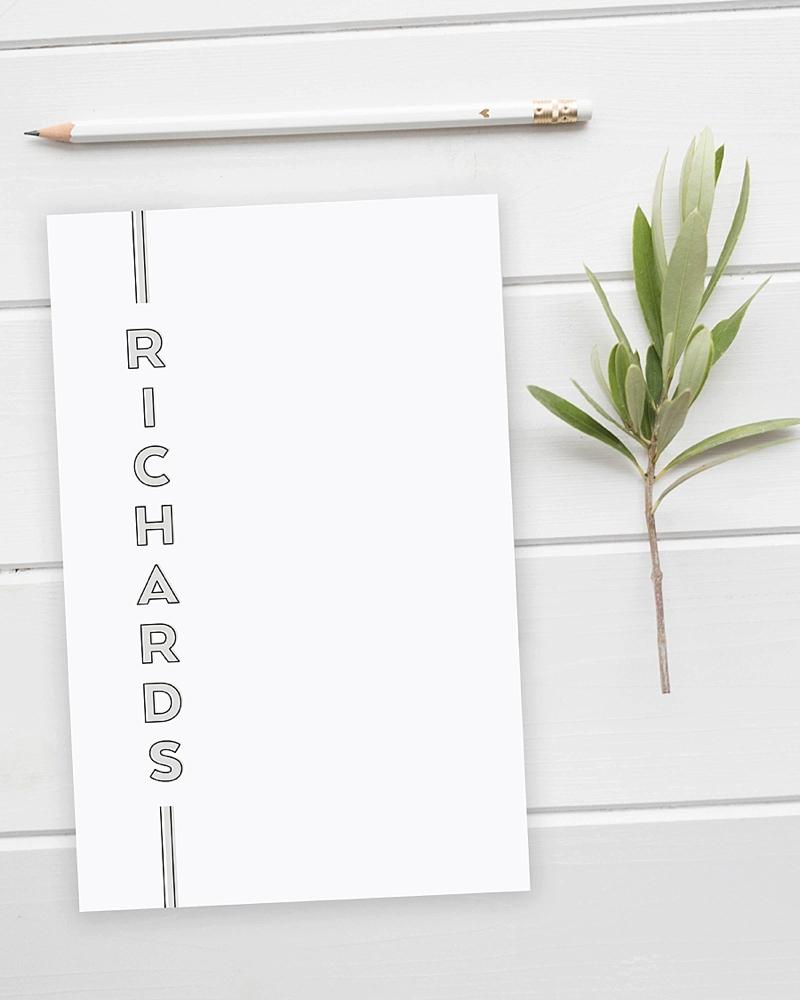 Personalized modern designed notepad for a special stocking stuffer