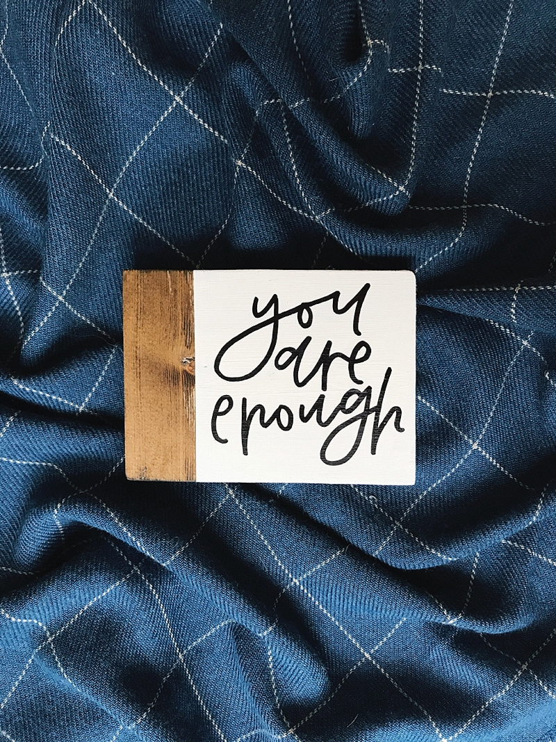 Thoughtful and encouraging mini wood desk sign for affordable stocking stuffer ideas on Etsy