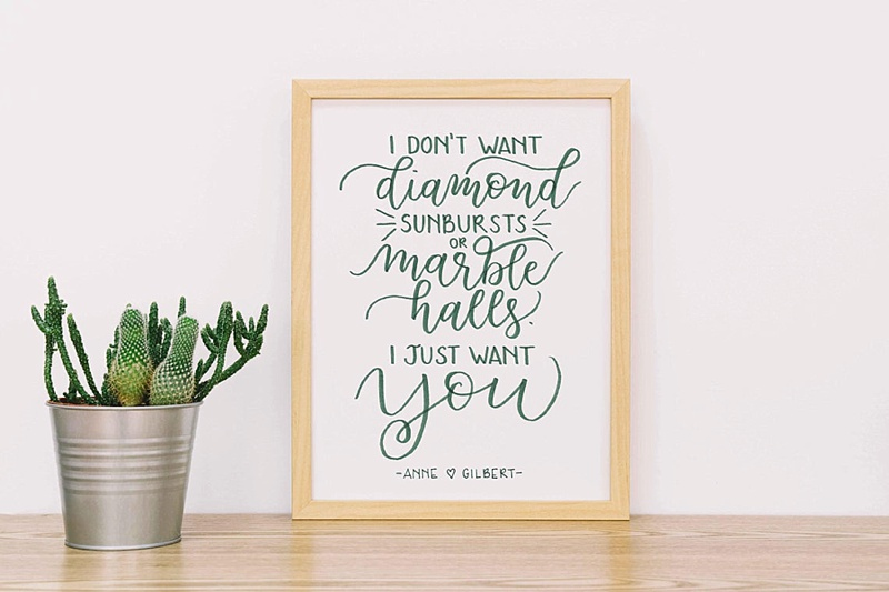 Anne of Green Gables love quote sign print perfect for a cottagecore wedding