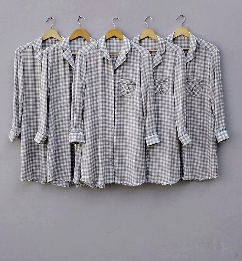 Gray checkered gingham plaid bridesmaid getting ready shirts for the cottagecore rustic wedding day