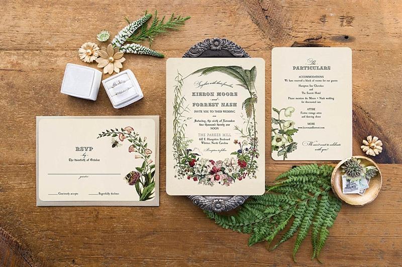 Vintage botanical wedding invitations for cottagecore wedding theme ideas
