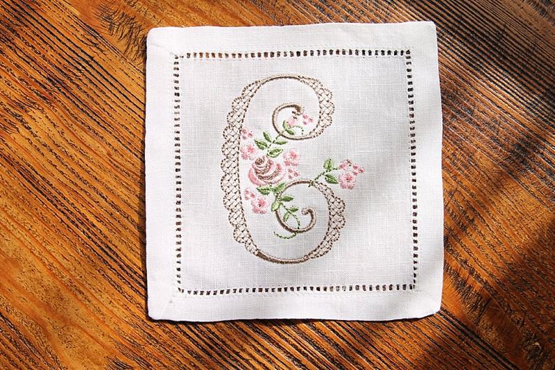 Embroidered keepsake wedding cocktail napkin with monogram for cottagecore wedding