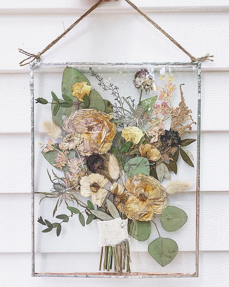 Dried and pressed wedding bouquet preservation for the cottagecore bride