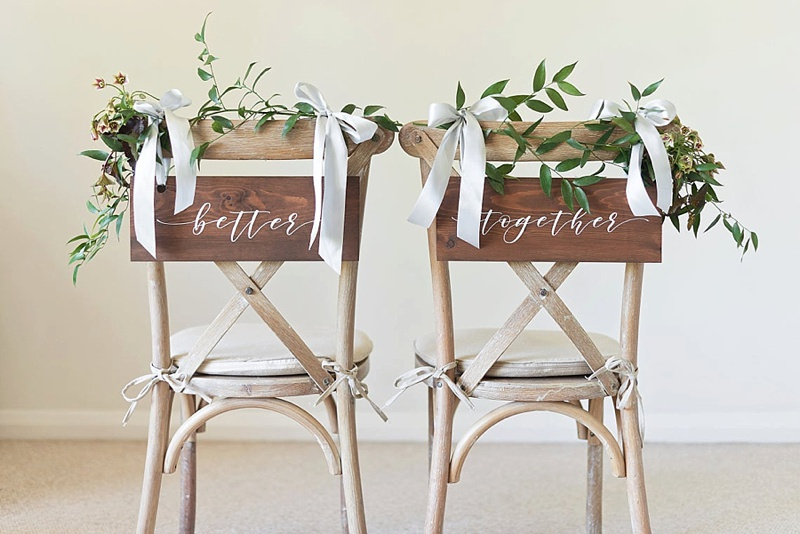 Wooden Better Together wedding chair signs from the UK