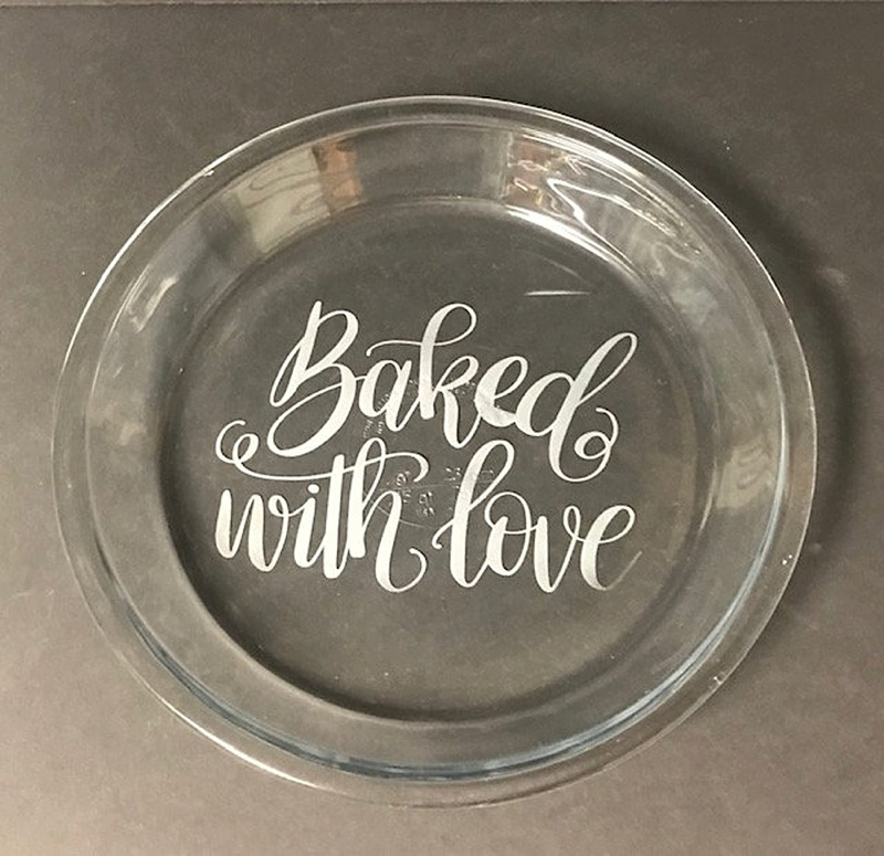 Etched glass wedding pie pan with Baked with Love written perfect for cottagecore wedding