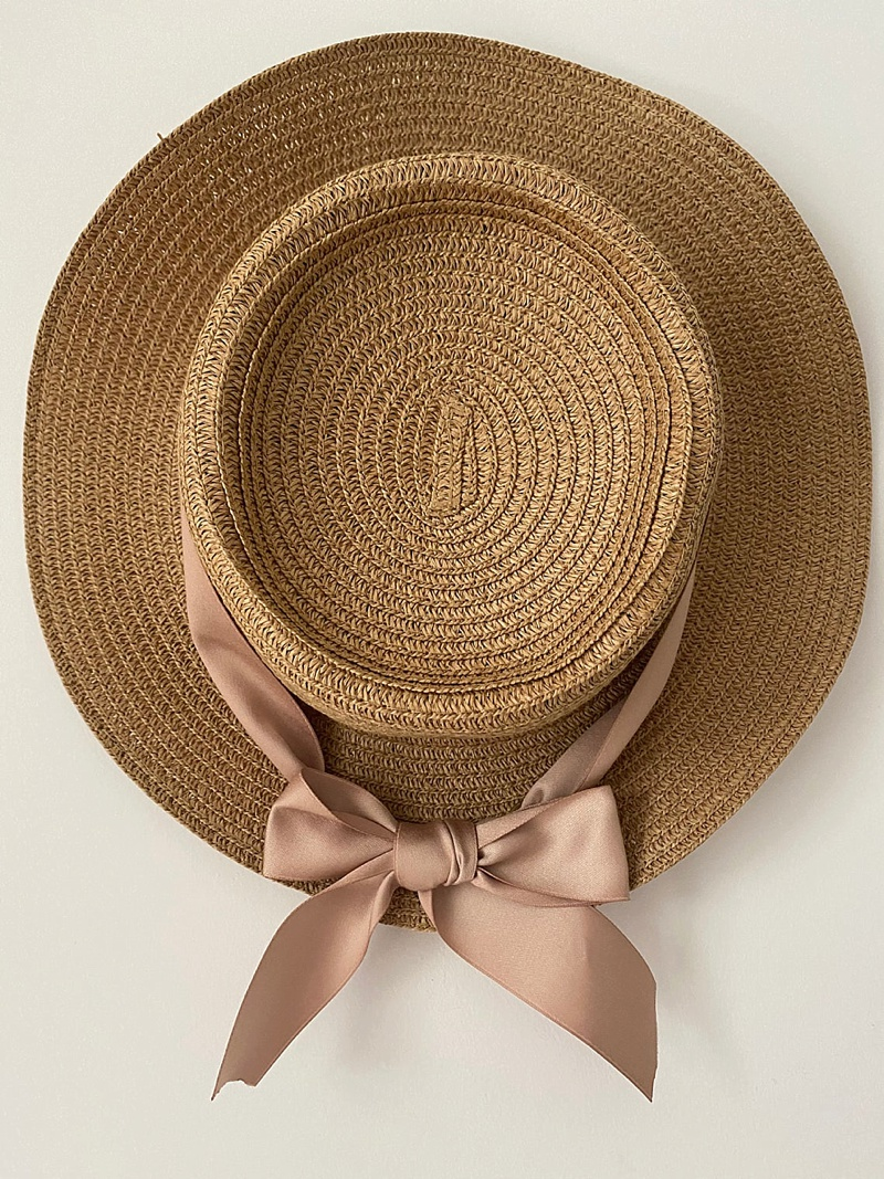 Chic personalized bridal straw hat for cottagecore wedding day