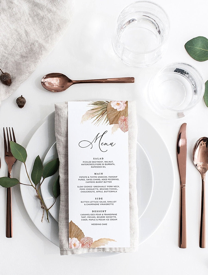 Chic modern wedding menu card with illustrated pink flowers and pampas grass and dried palm leaves