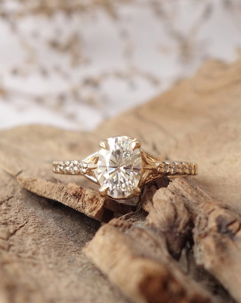 Beautiful and unique gold filigree moissanite wedding engagement ring perfect for a beach bride