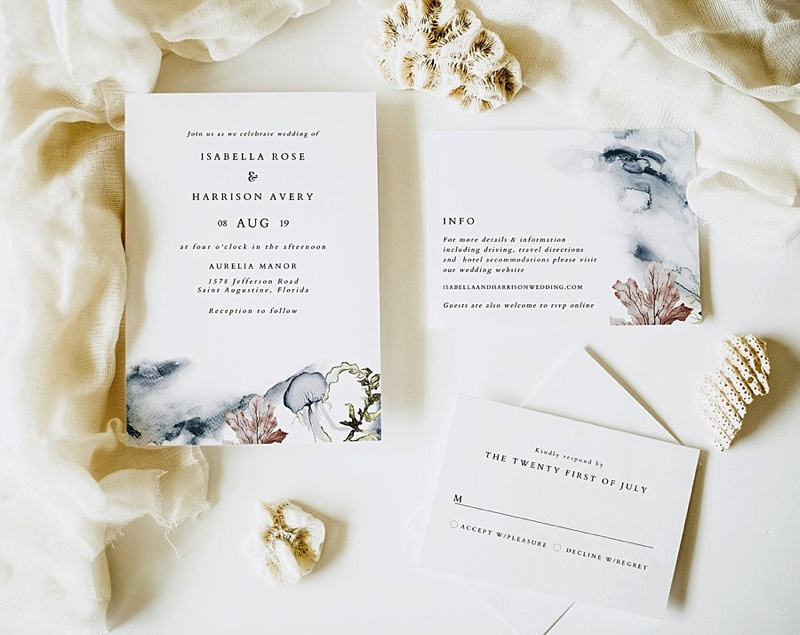 Elegant watercolor beach wedding invitation suite with ocean jellyfish and coral details