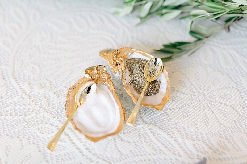 Gold edged upcycled oyster shells as pinch bowls for an elegant beach wedding gift