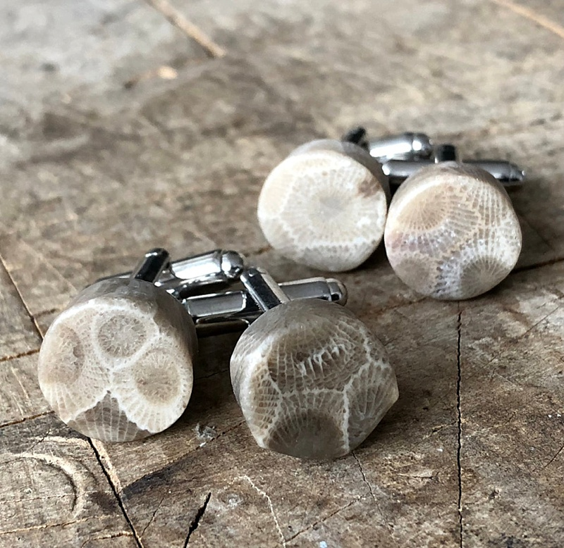 Unique fossilized coral cuff links for a beach wedding